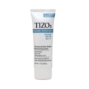 TIZO3 Mineral Protection Primer/Sunscreen Tinted SPF40 PA+++ Titanium and Zinc Oxides Antioxidant C & E Broad Spectrum SPF40 Water Resistance 80 minutes Net Wt. 1.75oz/50g